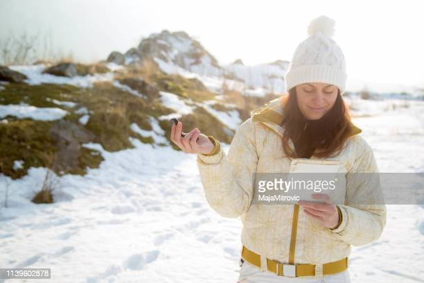 woman looking ahead - north stock pictures, royalty-free photos & images