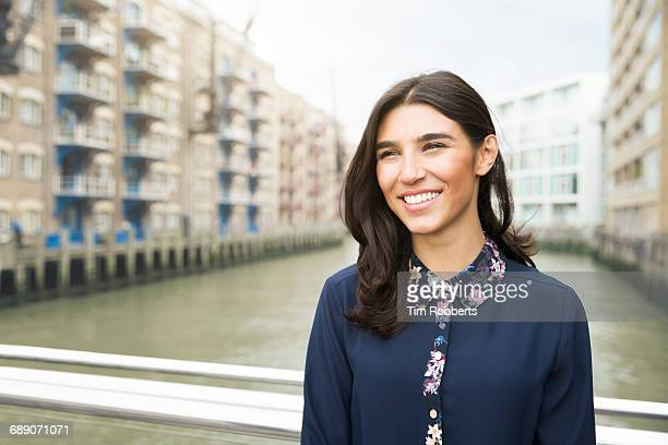Woman looking and smiling