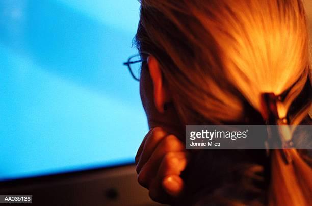 Woman Looking at a Computer Monitor