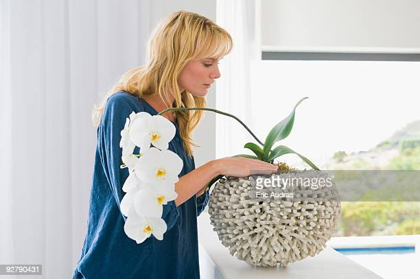 woman looking at a houseplant - long stem flowers stock pictures, royalty-free photos & images