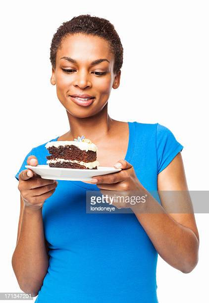 Woman Looking At A Slice Of Cake - Isolatated