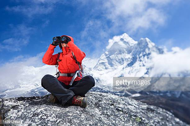 Woman looking at Ama Dablam, Mount Everest National Park