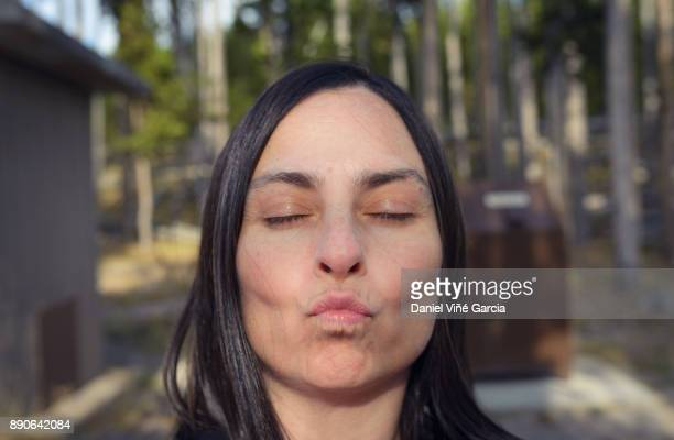 Woman looking at camera.