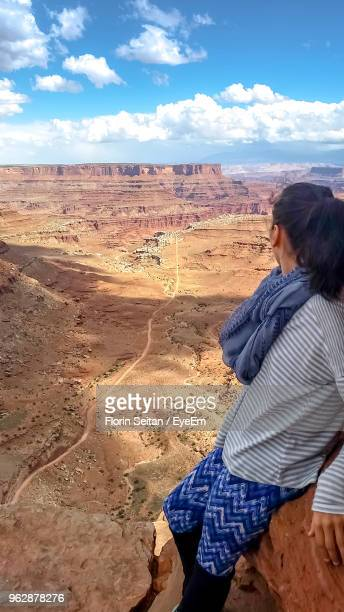 woman looking at desert against sky - florin seitan stock pictures, royalty-free photos & images