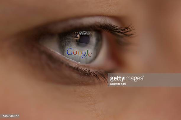 Woman looking at Google Internet site