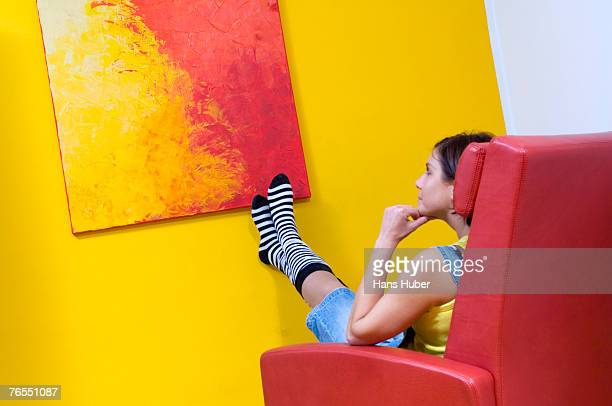 woman looking at painting - artistic product stock pictures, royalty-free photos & images