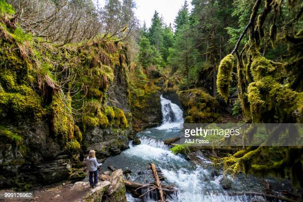 woman looking at rocky waterfall - chugach state park stock pictures, royalty-free photos & images