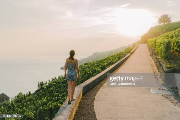 woman looking at scenic  view of vineyards near geneva lake - geneva switzerland stock pictures, royalty-free photos & images