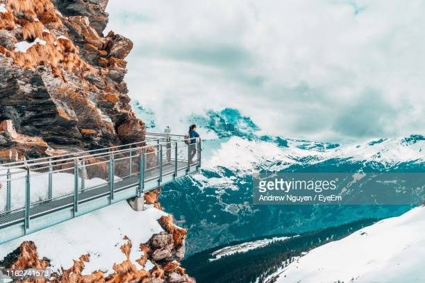 woman looking at snowcapped mountains against sky - observation point stock pictures, royalty-free photos & images