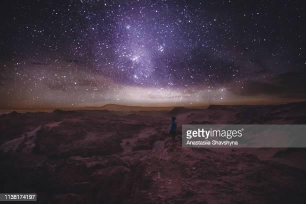 woman looking at star sky at canyon in atacama desert - cielo stellato foto e immagini stock