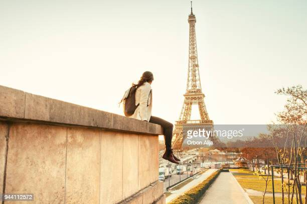 woman looking at the eiffel tower in paris - europe stock pictures, royalty-free photos & images