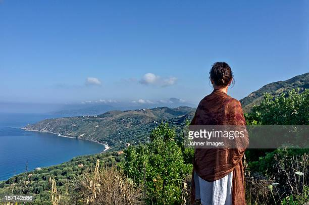 Woman looking at the Mediterranean