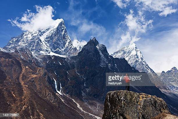 Woman looking at the mountains, Mount Everest National Park