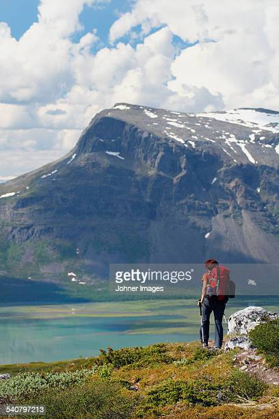 woman looking at view in mountains - norrbotten province stock photos and pictures