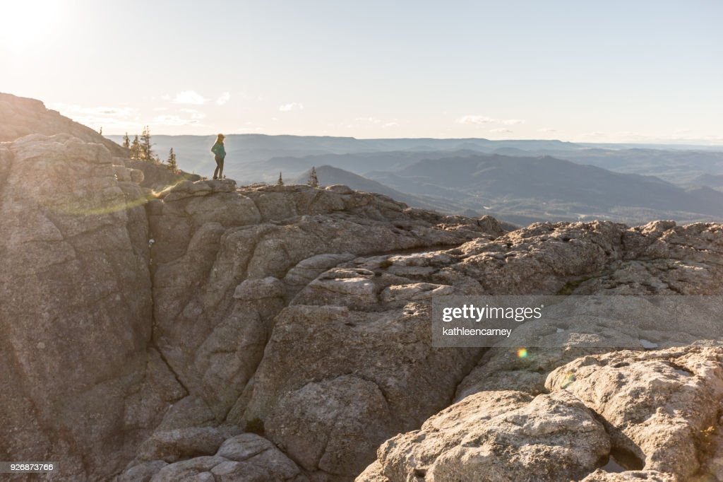 Woman looking at view in the Black Hills, South Dakota, America, USA : Stock Photo