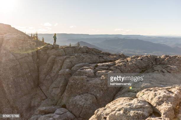 woman looking at view in the black hills, south dakota, america, usa - black hills - fotografias e filmes do acervo