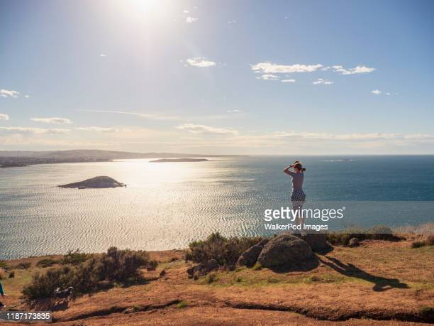 woman looking at view of victor harbor, south australia, australia - south australia stock pictures, royalty-free photos & images