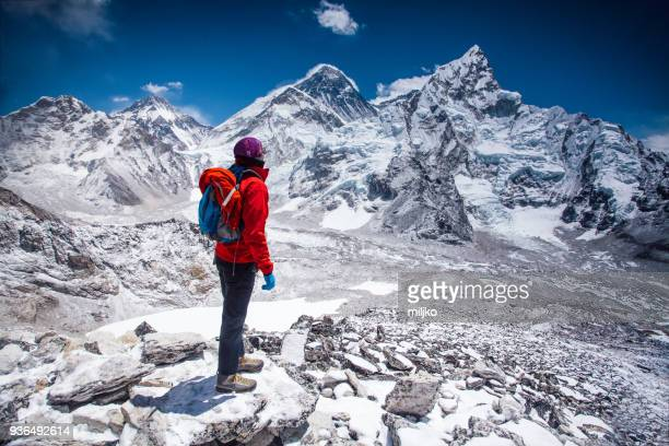 woman looking at view on himalayas - climbing stock pictures, royalty-free photos & images