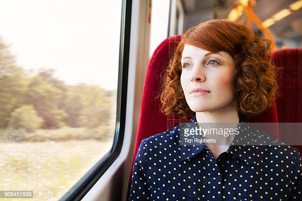 Woman looking at view on train.