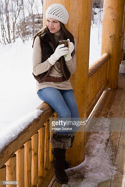 Woman looking at winter view