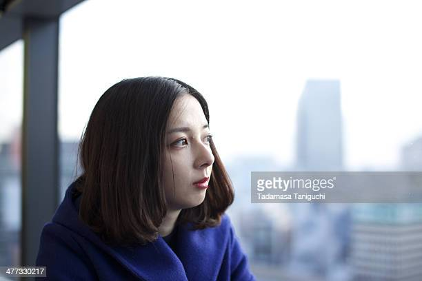 Woman looking city view