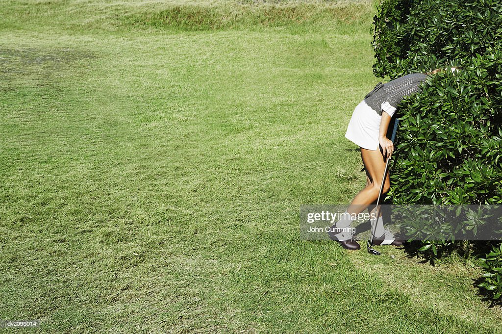 Woman Looking For a Golf Ball in The Bushes : Stock Photo