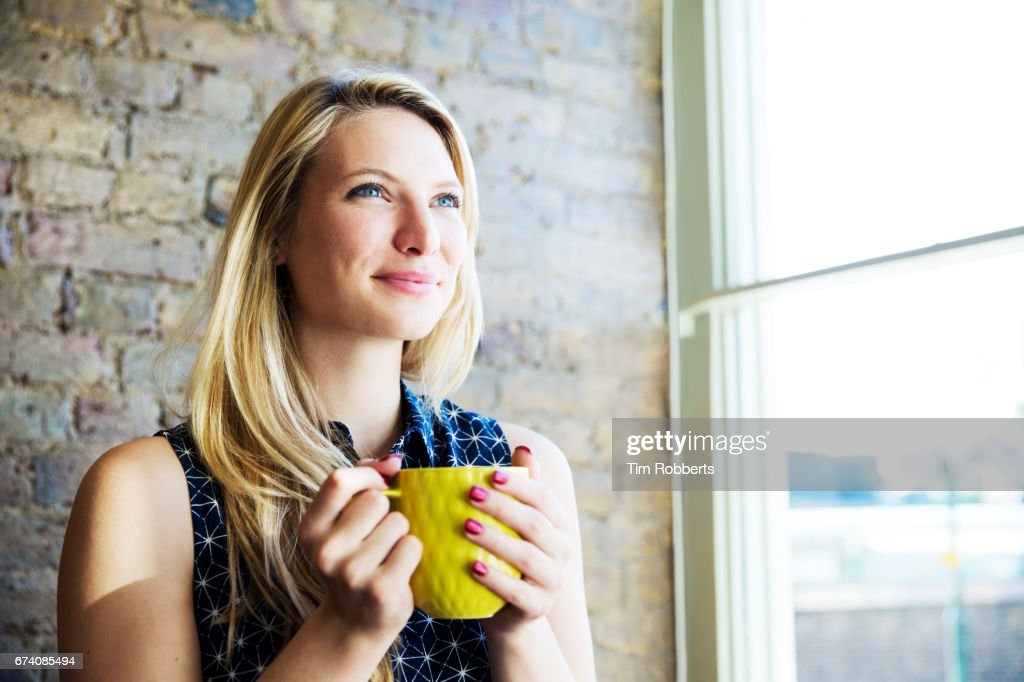 Woman looking forward : Stock Photo
