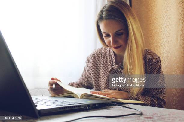 Woman looking instruction for job