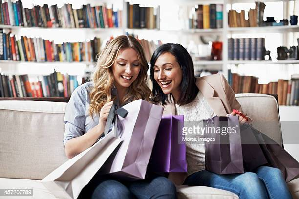 Woman looking into their shoppingbags