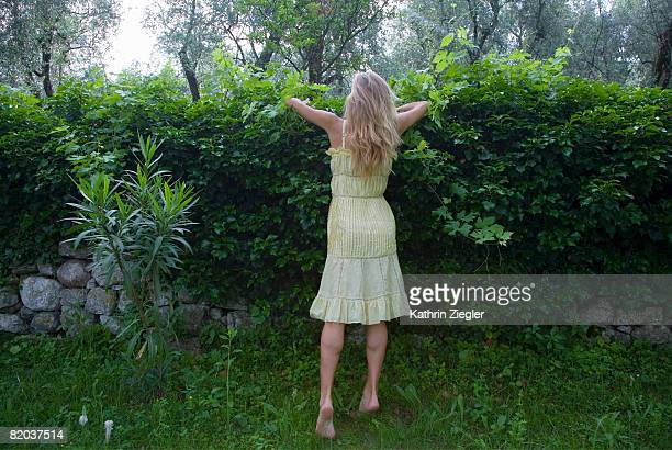 woman looking over hedge