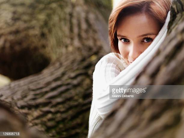 A woman looking playfully at the camera