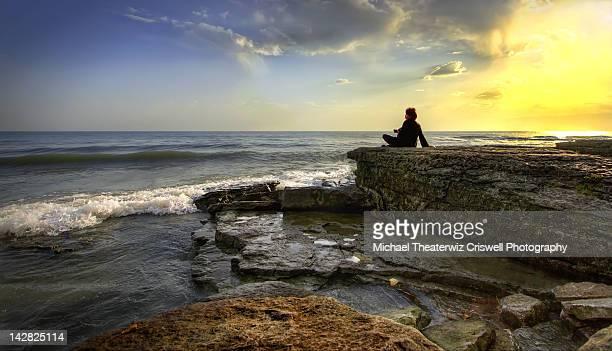 Woman looking sea view