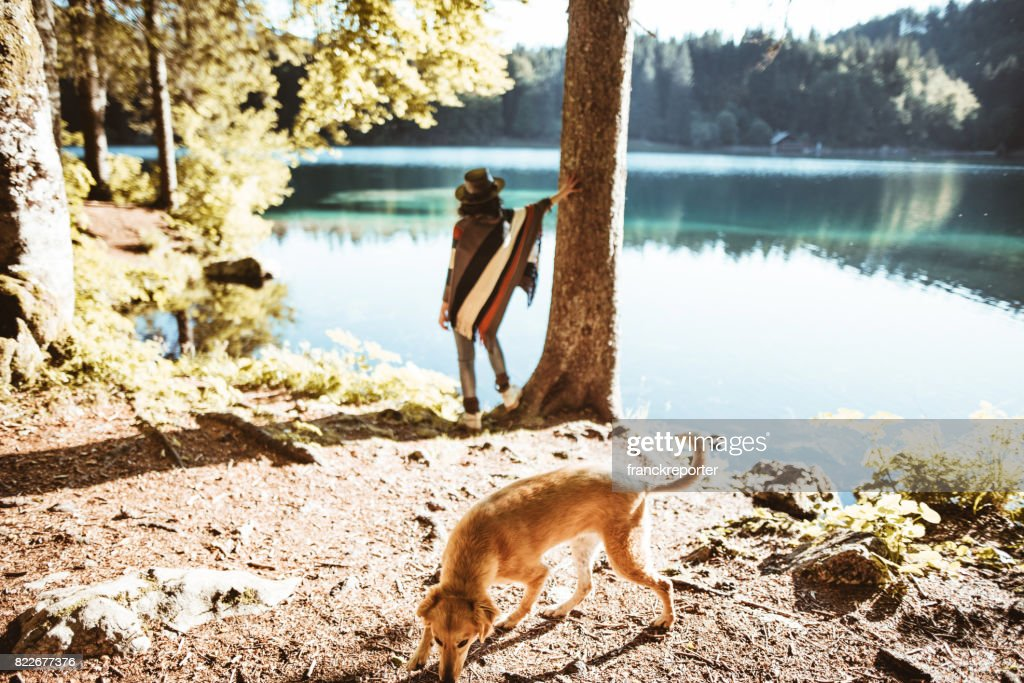 woman looking the landscape with the dog : Stock Photo