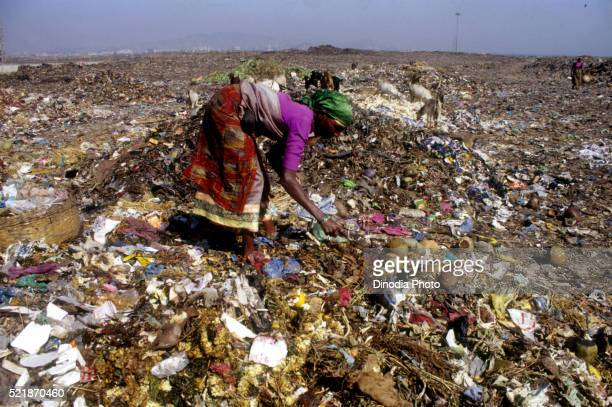 Woman looking though garbage at the Deonar dumping ground in Mumbai, Maharashtra, India.
