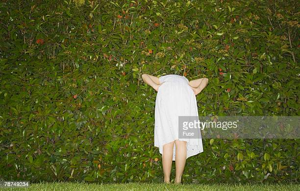 woman looking through her hedge - older woman bending over stock pictures, royalty-free photos & images