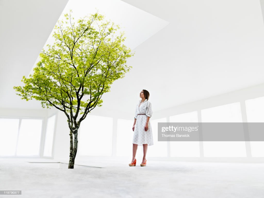 Woman looking up at tree growing out of stairwell : Stock Photo