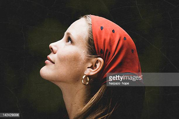 woman looking up - hoop earring stock pictures, royalty-free photos & images