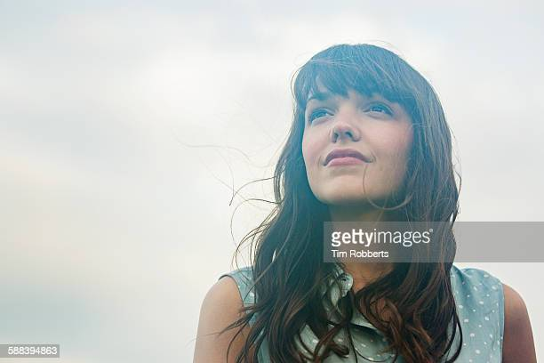 woman looking up. - looking away stock pictures, royalty-free photos & images