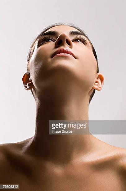 Frau Blick nach oben