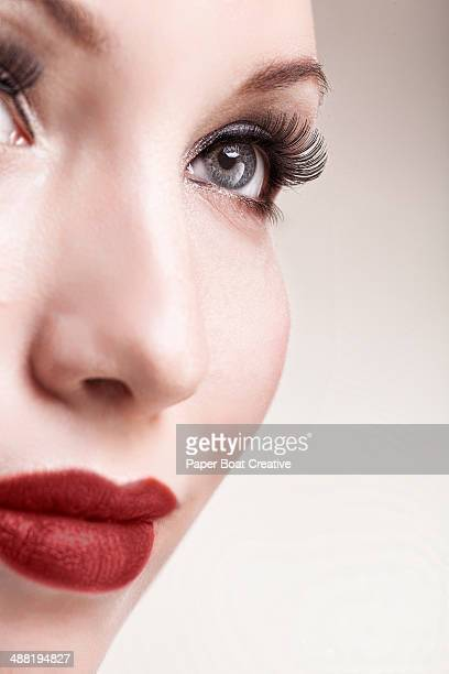 Woman  looking up, with elegant evening makeup on