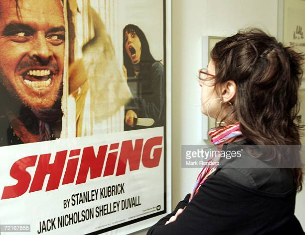A woman looks at a display from the movie The Shining is seen at an exhibition of items from 13 movies of director Stanley Kubrick at the...