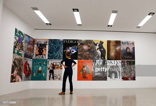 A woman looks at a work by Austrian artist Ines Doujak at the Mumok Museum of Modern arts in Vienna on June 26 2012 ARTIST Ines Doujak TO ILLUSTRATE...