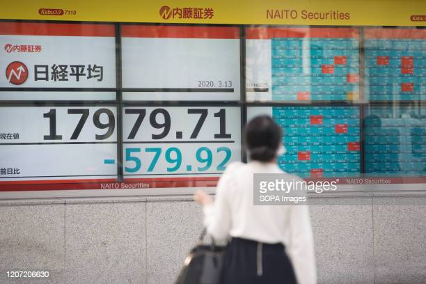 A woman looks at an electronic board showing the numbers for the Nikkei 225 index on the Tokyo Stock Exchange in Tokyo Tokyo stocks continue to fall...