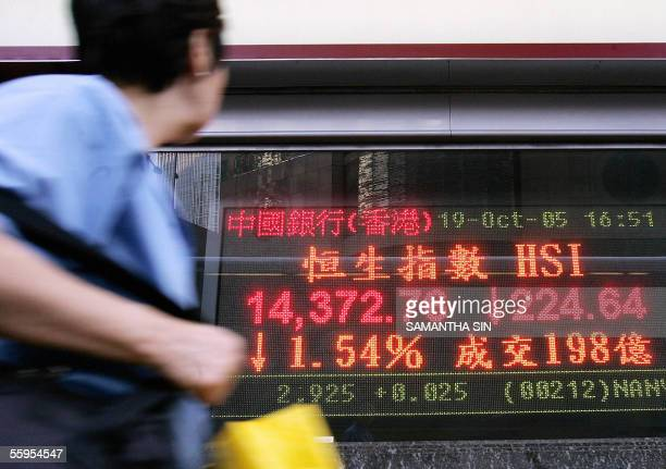 A woman looks at an electronic stock price index in Hong Kong 19 October 2005 Hong Kong share prices slumped 19 October shedding 154 percent on Wall...