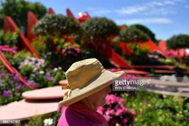 A woman looks at exhibits in front of the 'Chengdu Silk Road Garden' at the 2017 Chelsea Flower Show in London on May 22 2017 The Chelsea flower show...