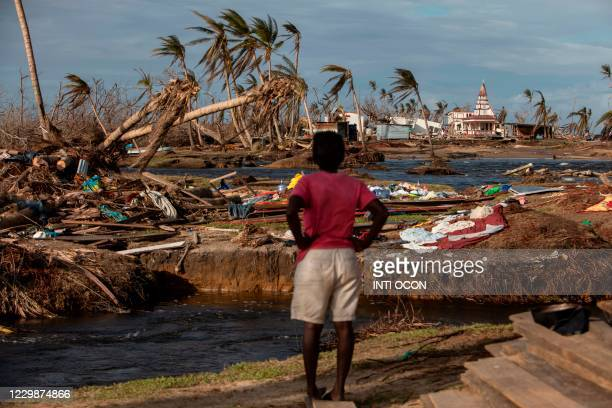 Woman looks at the destruction in Haulover, a community 41 km south of Bilwi, in the Northern Caribbean Autonomous Region, Nicaragua, on November 28...