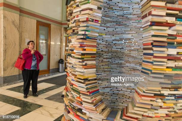 Woman looks at the Idiom installation, created by Slovakian artist, Matej Kren at Prague Library in Prague, Czech Republic on February 08, 2018....