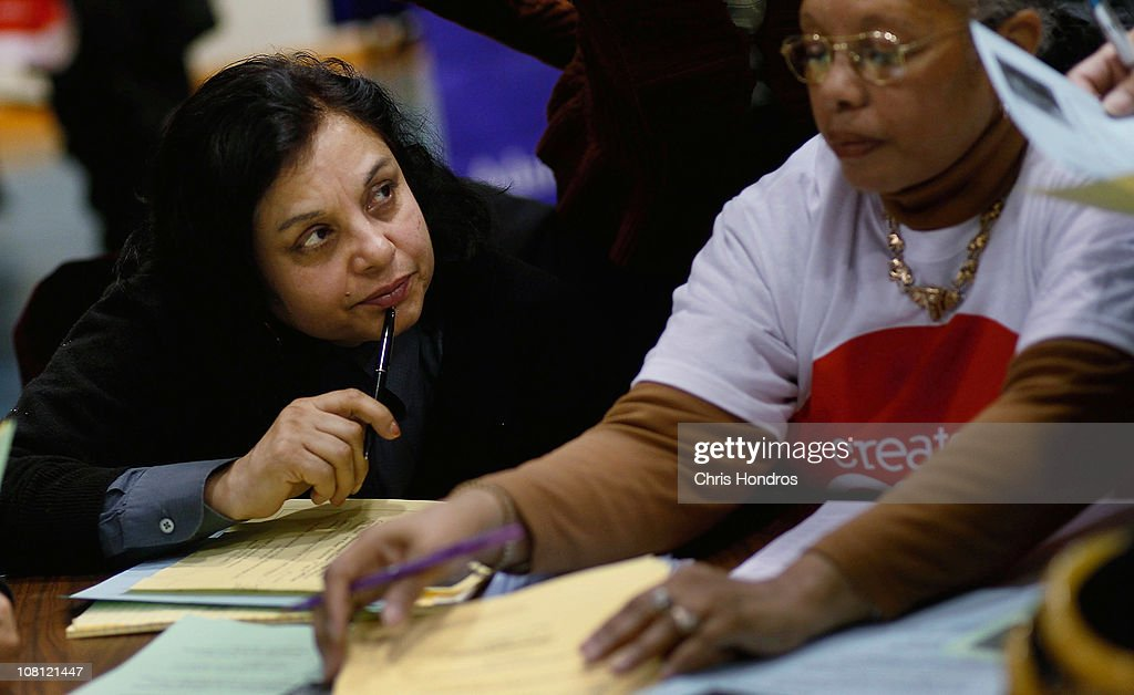 A woman looks at the instructor a career counseling session aimed at older unemployed people January 18, 2011 at a high school gymnasium in the Harlem neighborhood of New York City. The event, sponsored by the American Association of Retired Persons (AARP), consisted of workshops for basic job skills like resume building targeted to an over-50 job seeking demographic. Unemployment for older worker has decreased slightly in the past year, though rates are still three times higher than they were a decade ago, when only 2.5 percent of people over 45 were jobless.