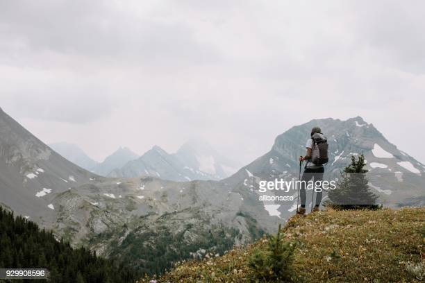 woman looks out at mountains - kananaskis country stock pictures, royalty-free photos & images