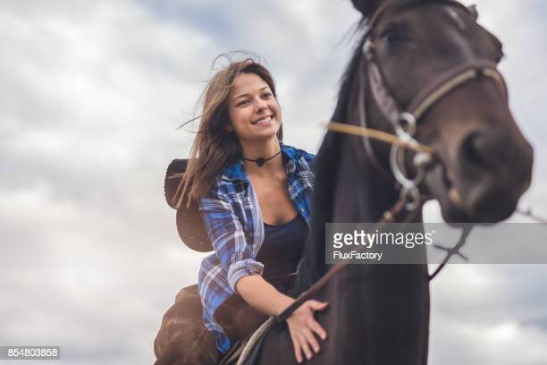 woman love her horse - rein stock pictures, royalty-free photos & images